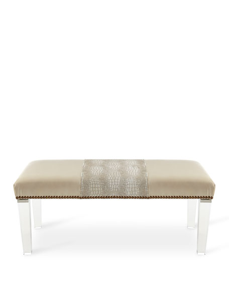 Massoud Serendipity Leather Colorblock Bench
