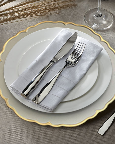 Elle White/Gold Scalloped Chargers, Set of 4