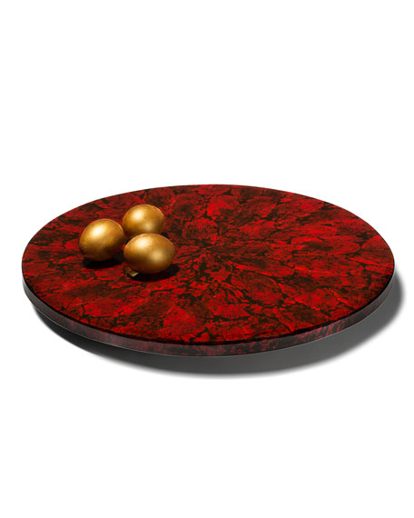 LADORADA Mother of Pearl Revolving Tray, Red