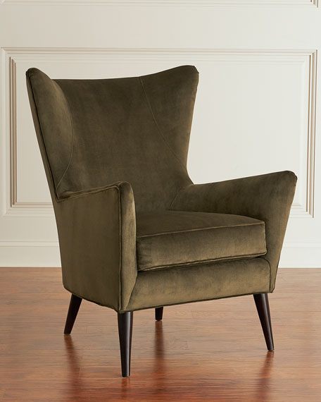 Image 1 of 2: Sam Moore Bryce Velvet Wing Chair
