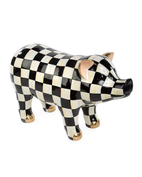 MacKenzie-Childs Courtly Check Pig Figurine