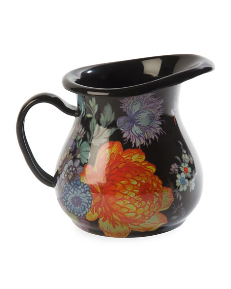 MacKenzie-Childs Flower Market Creamer, Black