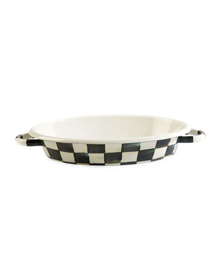 MacKenzie-Childs Courtly Check Enamel Oval Medium Gratin Dish