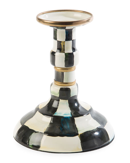 MacKenzie-Childs Courtly Check Enamel Small Candlestick Holder