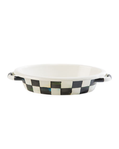 MacKenzie-Childs Courtly Check Enamel Oval Small Gratin Dish