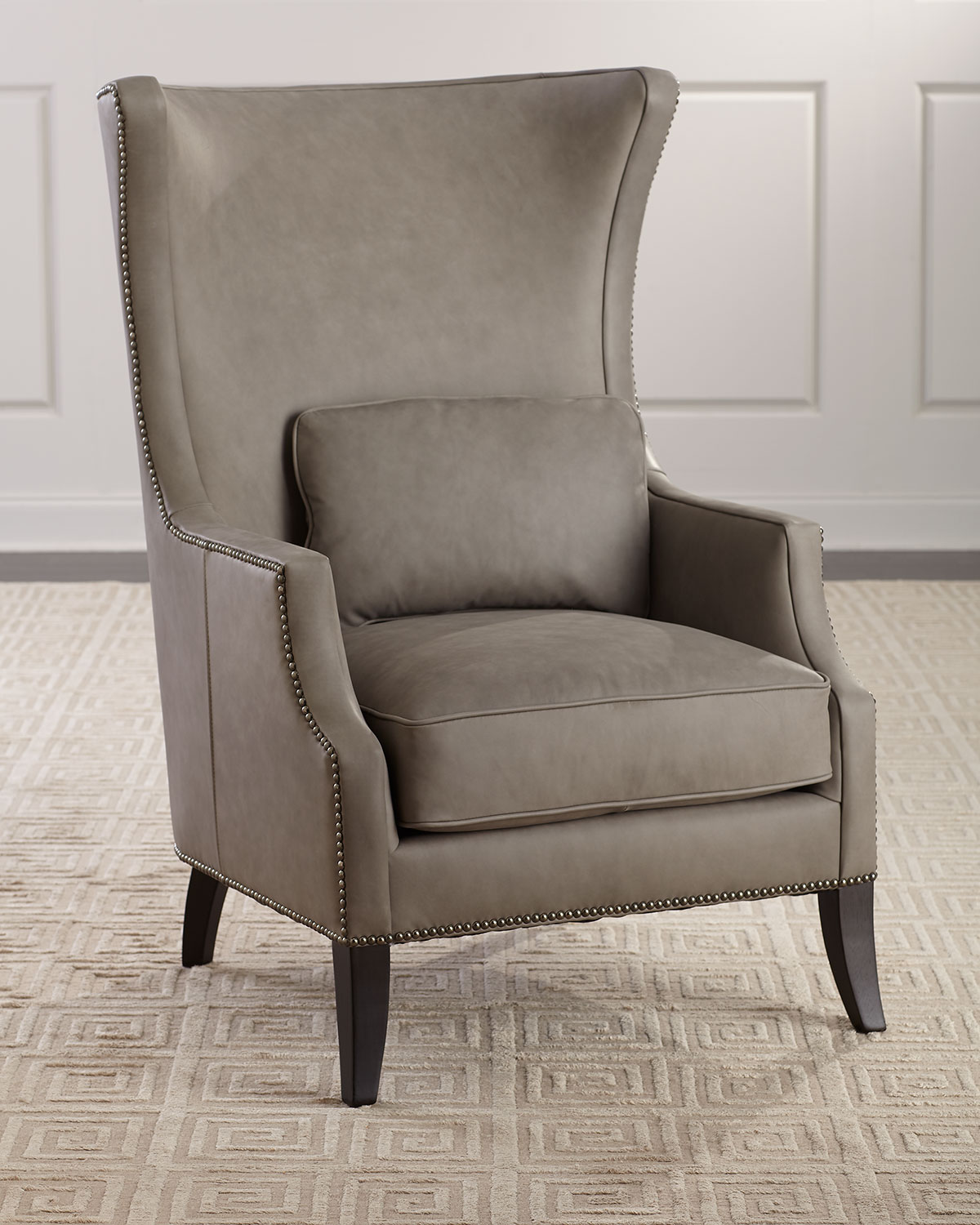 Bernhardt Mona Leather Wing Chair