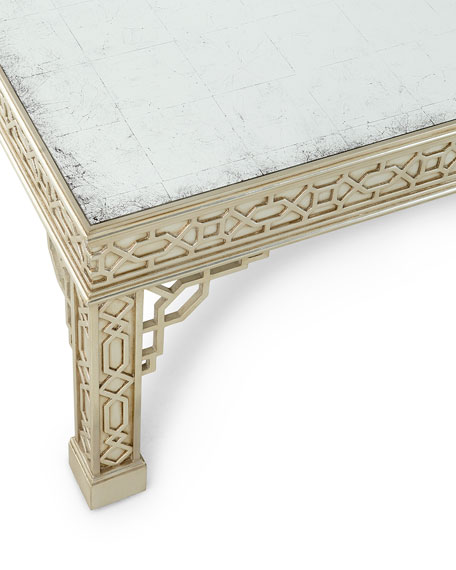 John-Richard Collection Pavillion Antiqued Mirrored Coffee Table