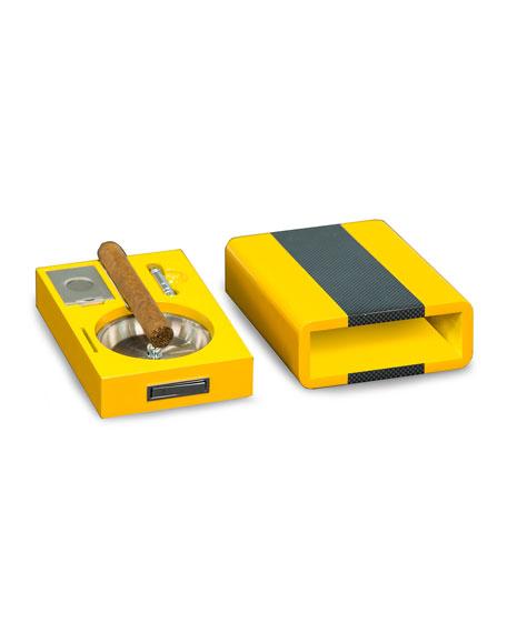 Bey-Berk Carbon Fiber Cigar Ashtray, Cutter & Punch