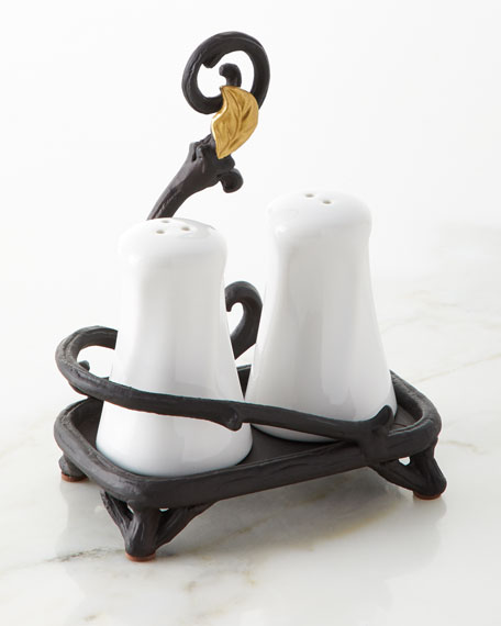 G G Collection White Stoneware Salt & Pepper Shakers with Metal Gold Leaf Base