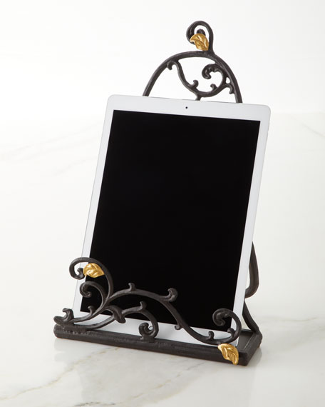 G G Collection Gold Leaf Book/Tablet Stand with Stoneware Message Board