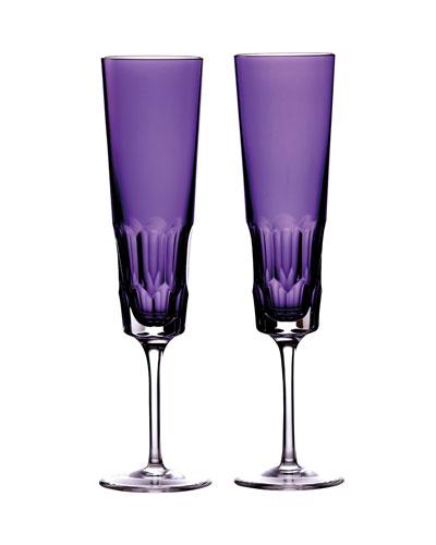Jeff Leathan Icon Champagne Flutes  Set of 2 - Amethyst