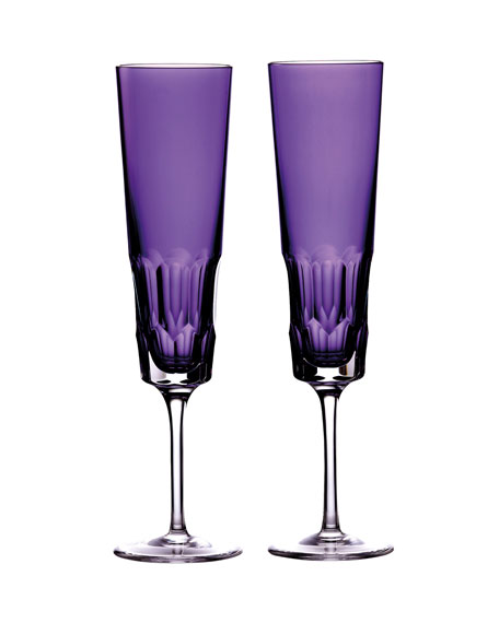 Image 1 of 2: Waterford Crystal Jeff Leathan Icon Champagne Flutes, Set of 2 - Amethyst