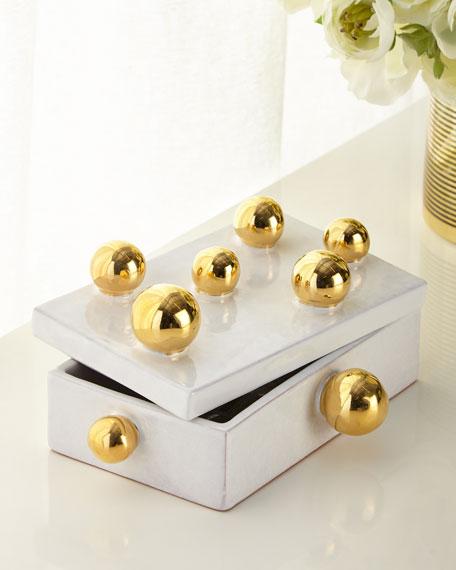 Dolfi White Small Box with Golden Spheres