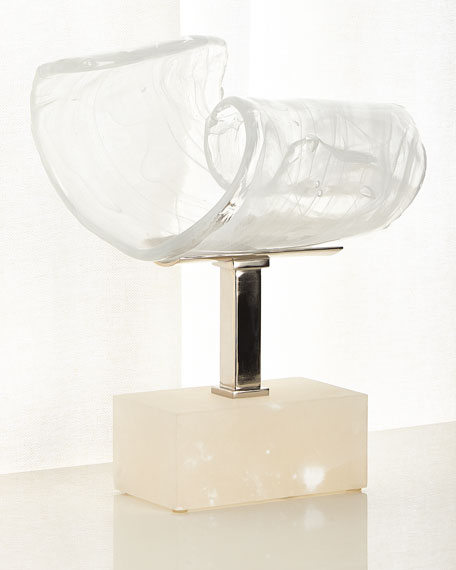 Image 1 of 2: John-Richard Collection Horizontal Clear White Glass Sculpture
