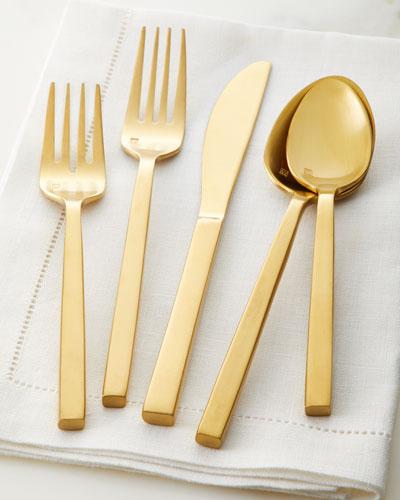 20-Piece Arrezzo Flatware Service  Brush Gold