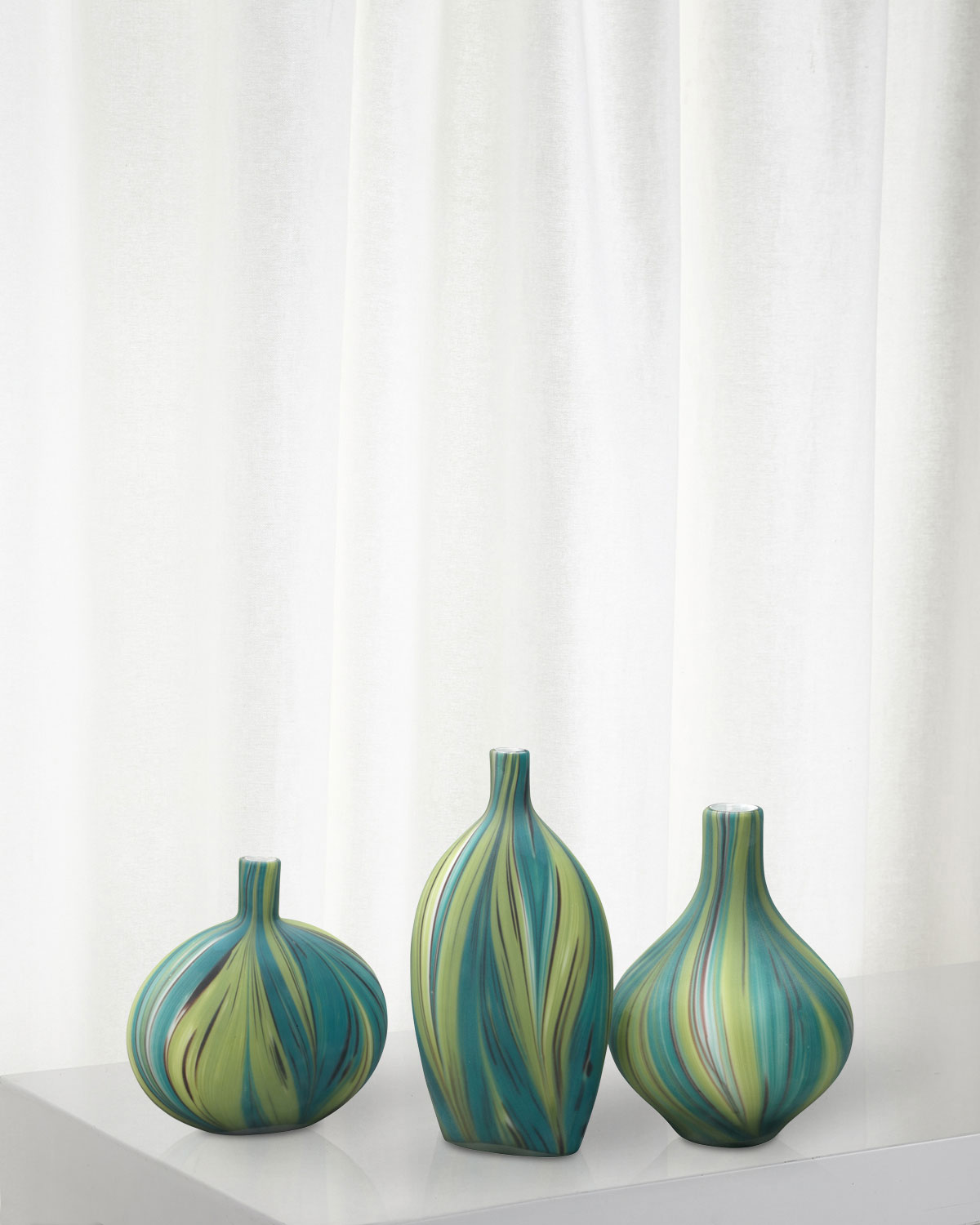 Jamie Young Stream Striped Glass Vessels, Set of 3