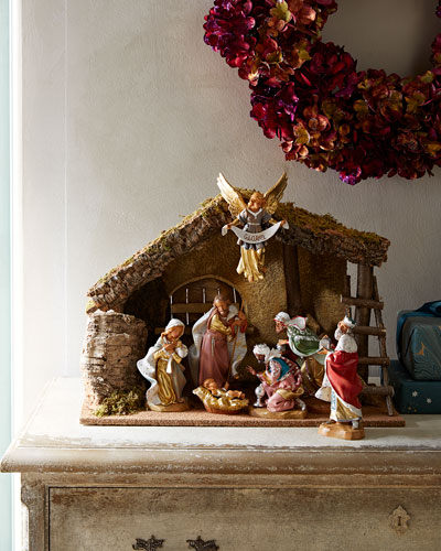 7-Piece Nativity Set with Italian Stable