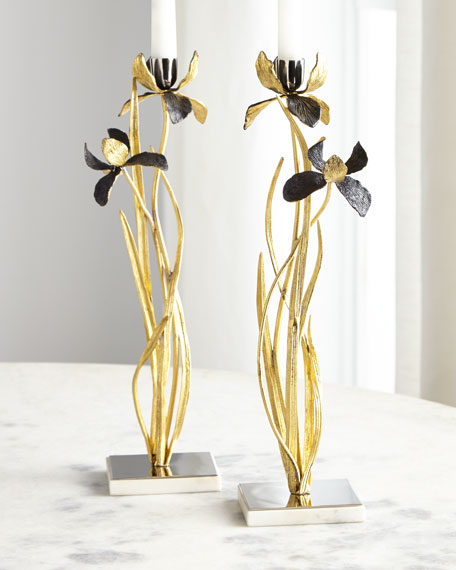 Michael Aram Black Iris Candleholders, Set of 2