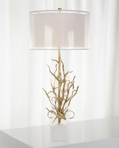 John-Richard Collection Swirling Reeds Brass Lamp