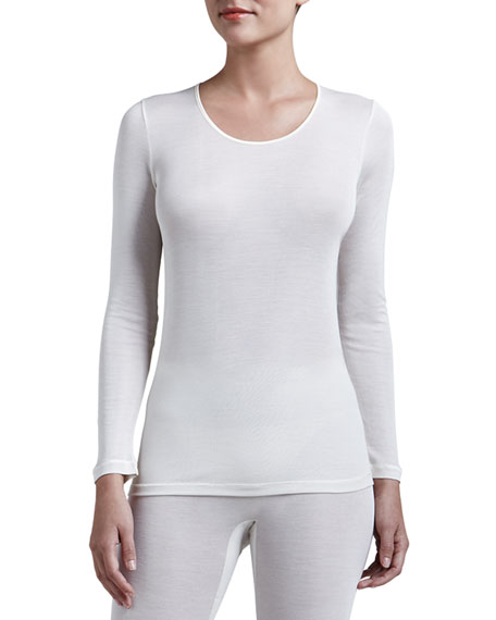 Silk Long-Sleeve Shirt, Pale Cream