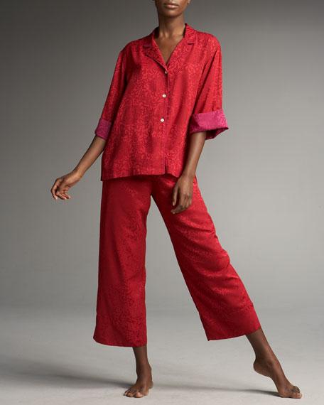 Contrast Trim Jacquard Pajamas