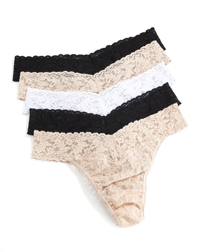 Hanky Panky Five-Pack Original-Rise Thongs, Basic Colors