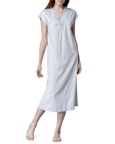 Hanro Moments Cap-Sleeve Gown, Blue Glow