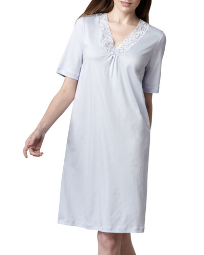 Hanro Moments Short-Sleeve Gown, Blue Glow