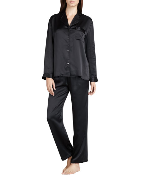 Tailored Silk Pajamas, Black