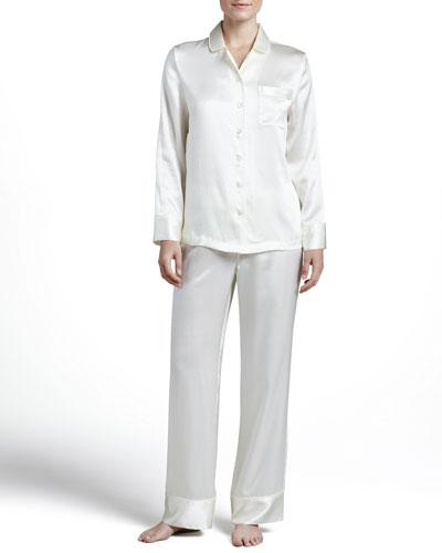 Neiman Marcus Solid Silk Satin PJ Set, Ivory