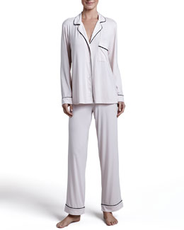 Eberjey Gisele Long Pajama Set, Sorbet/Black