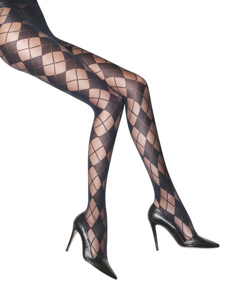 ARGYLE TIGHTS- BLACK