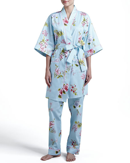 Aqua Botanical Classic Kimono Robe