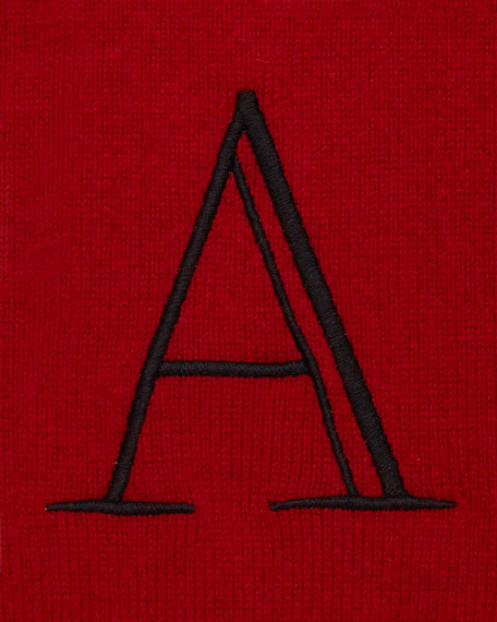 Monogrammed Cashmere Robe, Red