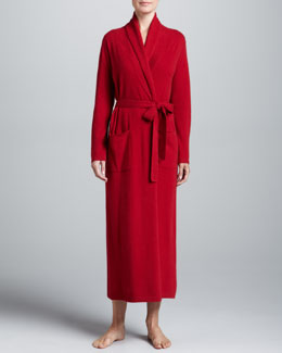 Neiman Marcus Monogrammed Cashmere Robe, Red