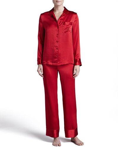 Neiman Marcus Monogrammed Silk Pajamas, Red
