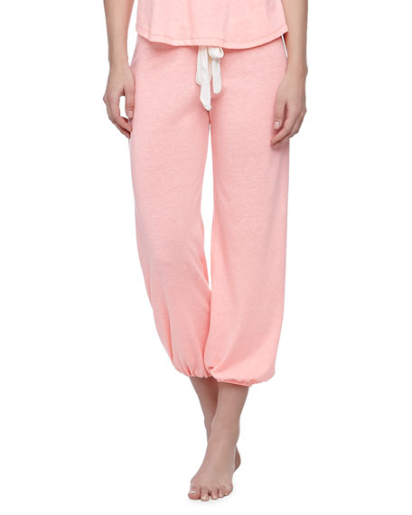 Heather Cropped Slub Lounge Pants, Melon Glow