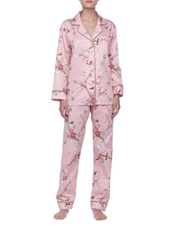 Bedhead Birds & Blossom Sateen Notch PJ Set