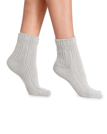 Cashmere-Blend Cozy Ruffled Bedsocks, Silver/Gray