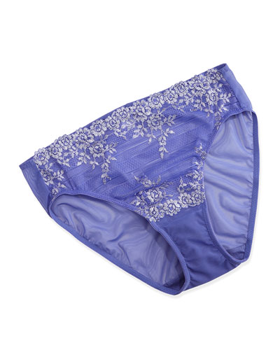 Embrace Lace-Trim High-Cut Brief, Blue Iris