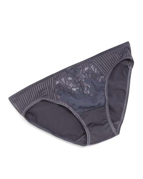 Pont Neuf Lace Striped Briefs, Slate Gray