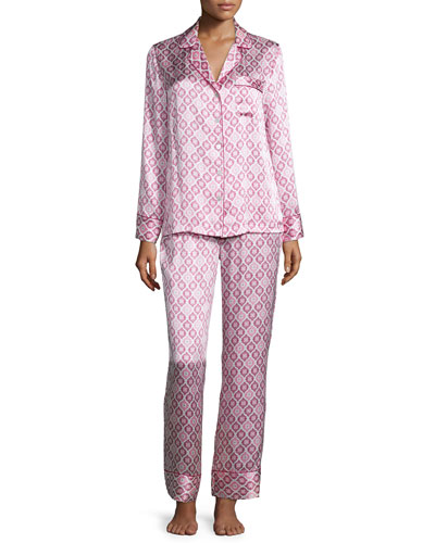 Holiday-Print Silk Pajama Set, Multi