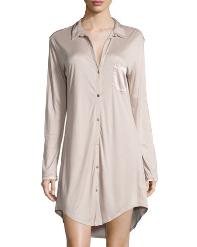 Hanro Grand Central Boyfriend Sleepshirt, Coffee Cream