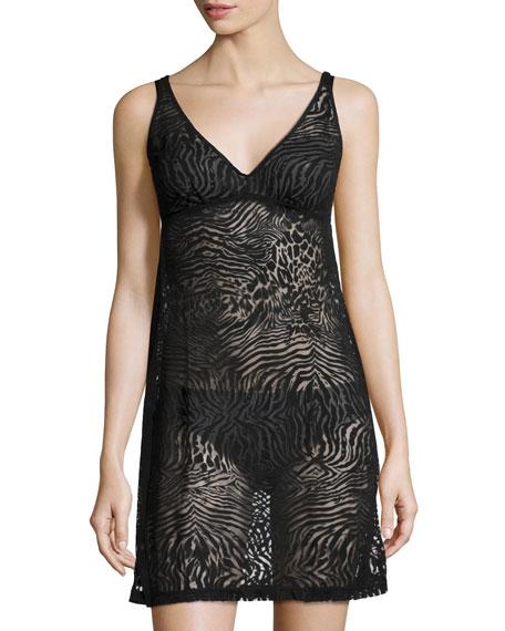 Cosabella Keri Animal-Print Slip Dress, Black