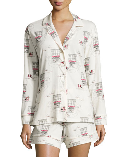 Girl On Scooter Shorty Pajama Set