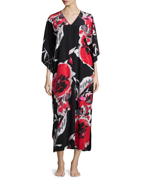 NatoriLana Drop-Sleeve Lounge Caftan, Black/Multicolor