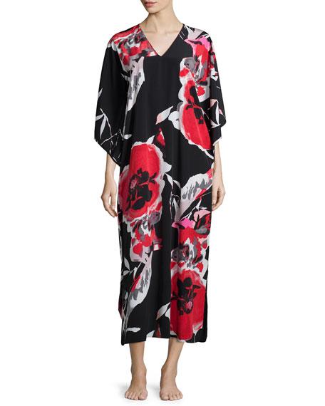 Natori Lana Drop Sleeve Lounge Caftan Black Multicolor