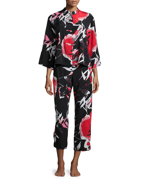 NatoriLana Floral-Print Pajama Set, Black Multi