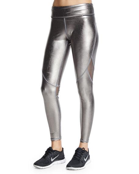 Alala Captain Metallic Cropped Leggings/Running Tights