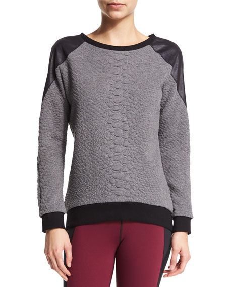 Michi Melano Textured Combo Sport Sweatshirt, Crocodile Gray